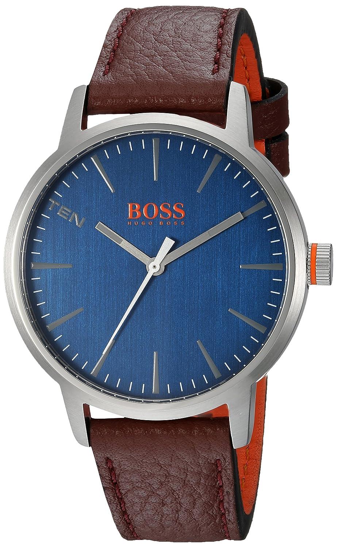 Amazon.com: HUGO BOSS Mens Copenhagen Stainless Steel Quartz Watch with Leather Strap, Brown, 20 (Model: 1550057: Watches
