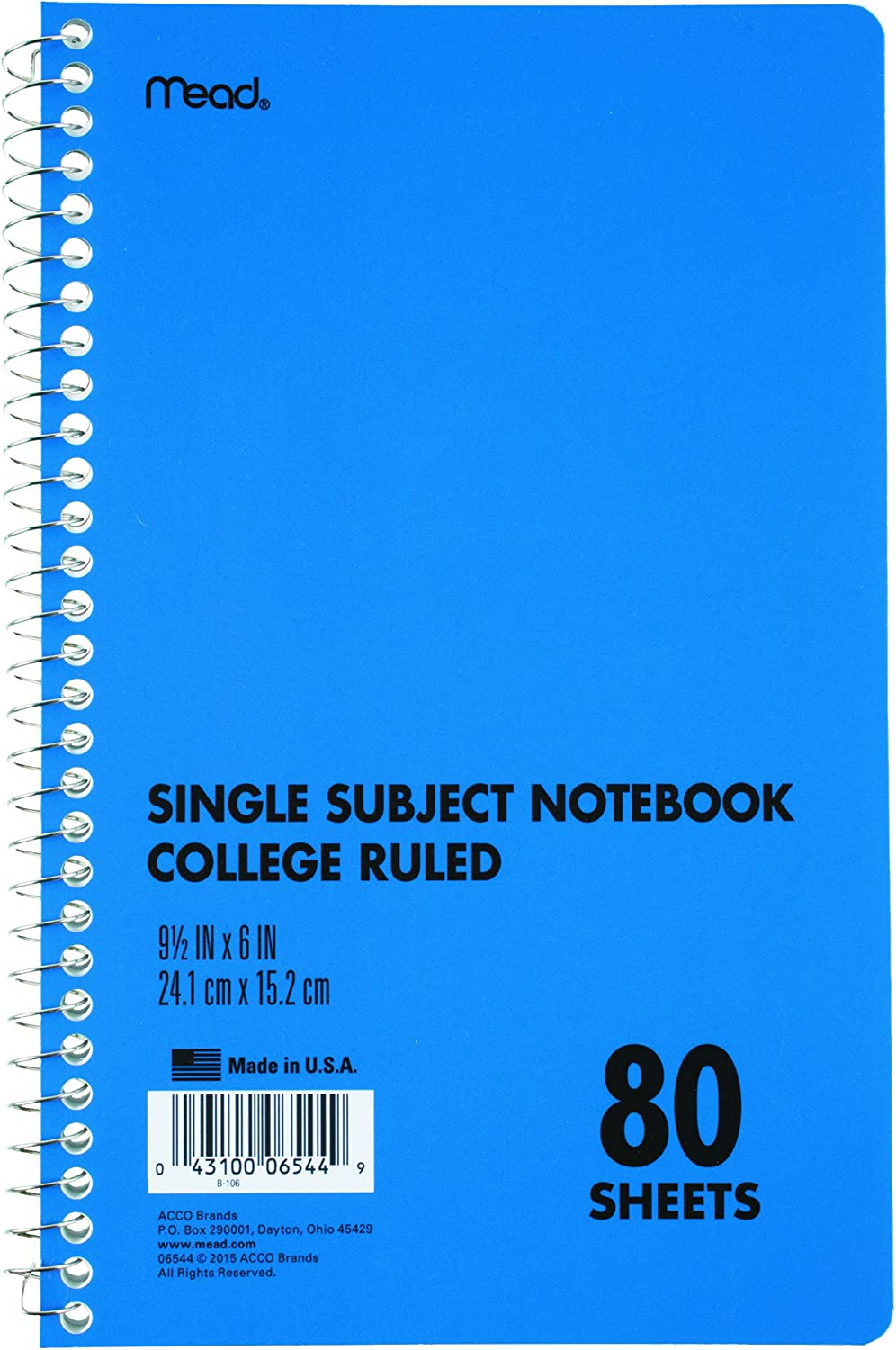 Mead Spiral Bound Notebook Perforated College Rule 9 1//2 x 6 White 150 Sheets
