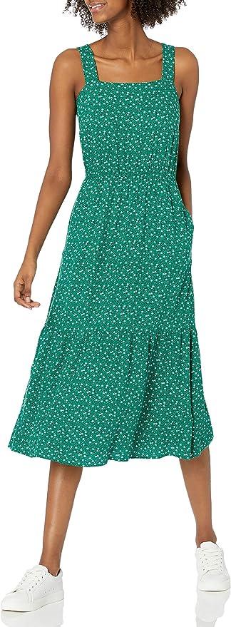 Amazon Essentials Women's Fluid Twill Tiered Midi Summer Dress