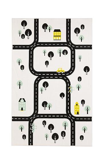 Aminata Kids Teppich Kinderzimmer Jungen Auto Straßenmotiv Spielteppich  95x150 Cm * Made In Europe * Rutschhemmend