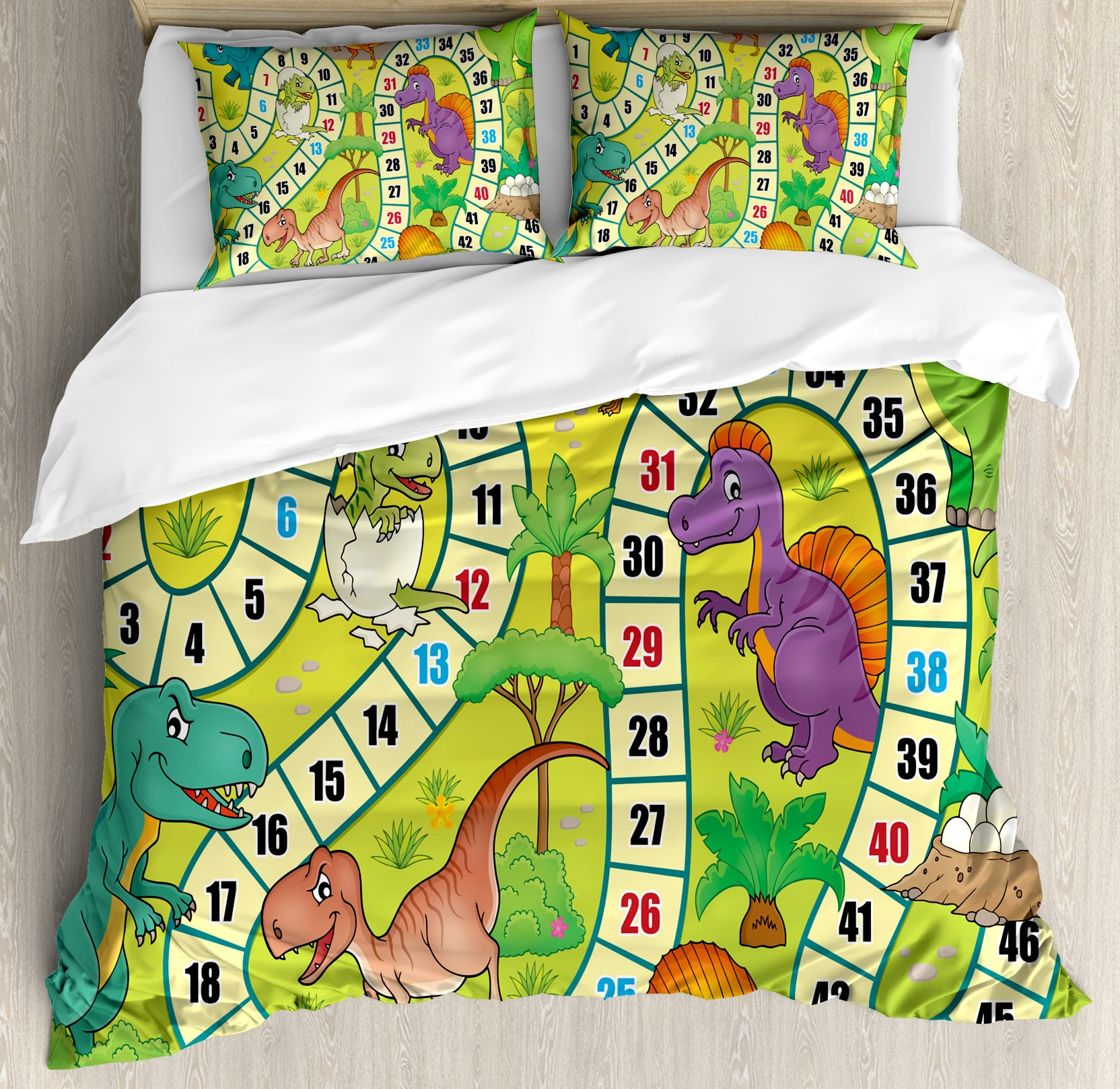 Board Game Queen Size Duvet Cover Set by Ambesonne, Cute Dinosaurs Jungle Numeral Wavy Line Prehistoric Fauna Wildlife Composition, Decorative 3 Piece Bedding Set with 2 Pillow Shams, Multicolor