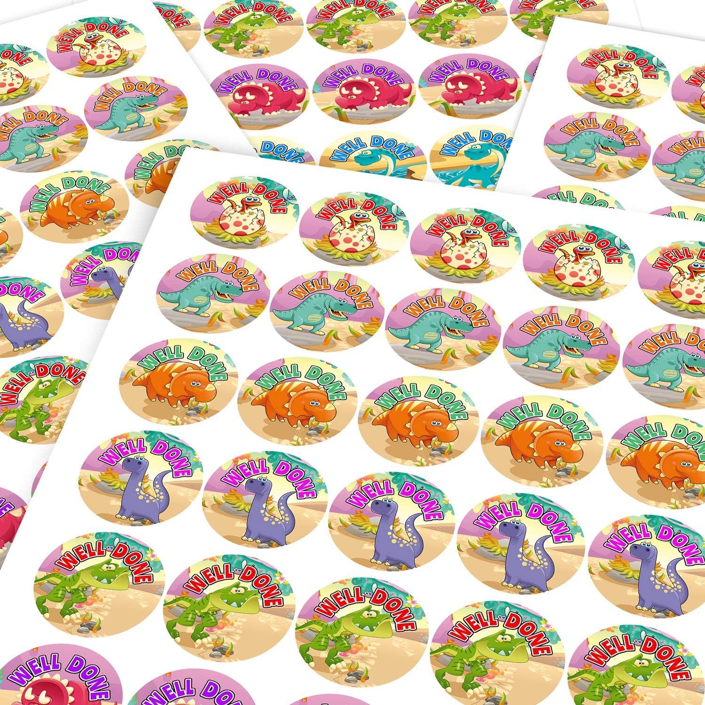 Parents Children Graphic Flavour Nursery Classroom Well Done Colourful Cute Dinosaur Motivational Reward Sticker Labels Teachers 6 Stickers @ 9.5cm
