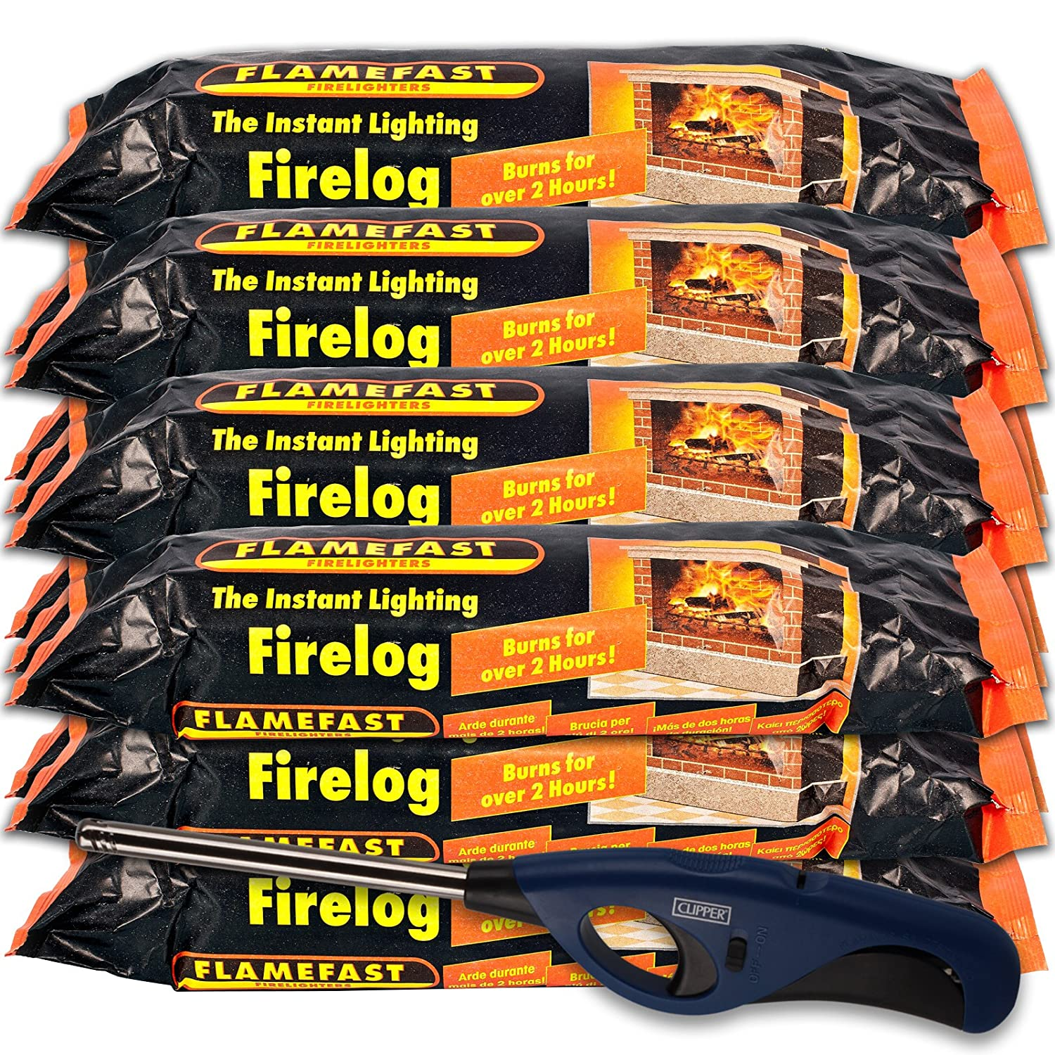 1 X Flamefast Instant Lighting Smokeless Firelog Burns for Over 2 Hours with Refillable Long Reach Tube Nose Clipper Lighter & Tigerbox Safety Matches