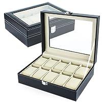 Silverback - Scatola per 10 orologi, per uomo e donna, in pelle sintetica, colore: nero