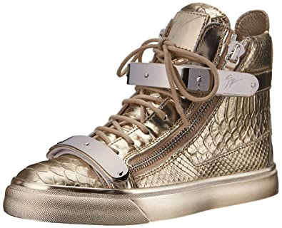 Giuseppe Zanotti Women's Metallic High Top Fashion Sneaker, Golia Print Platino, 5 M US