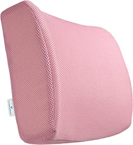 PharMeDoc Lumbar Support for Office Chair & Car Seat - Orthopedic Memory Foam Seat Cushion with Adjustable Strap Includes 3D Mesh Cover (Pink)