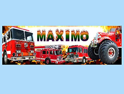 Amazon com: Free Fire Truck Personalized Name Painting Poster Banner