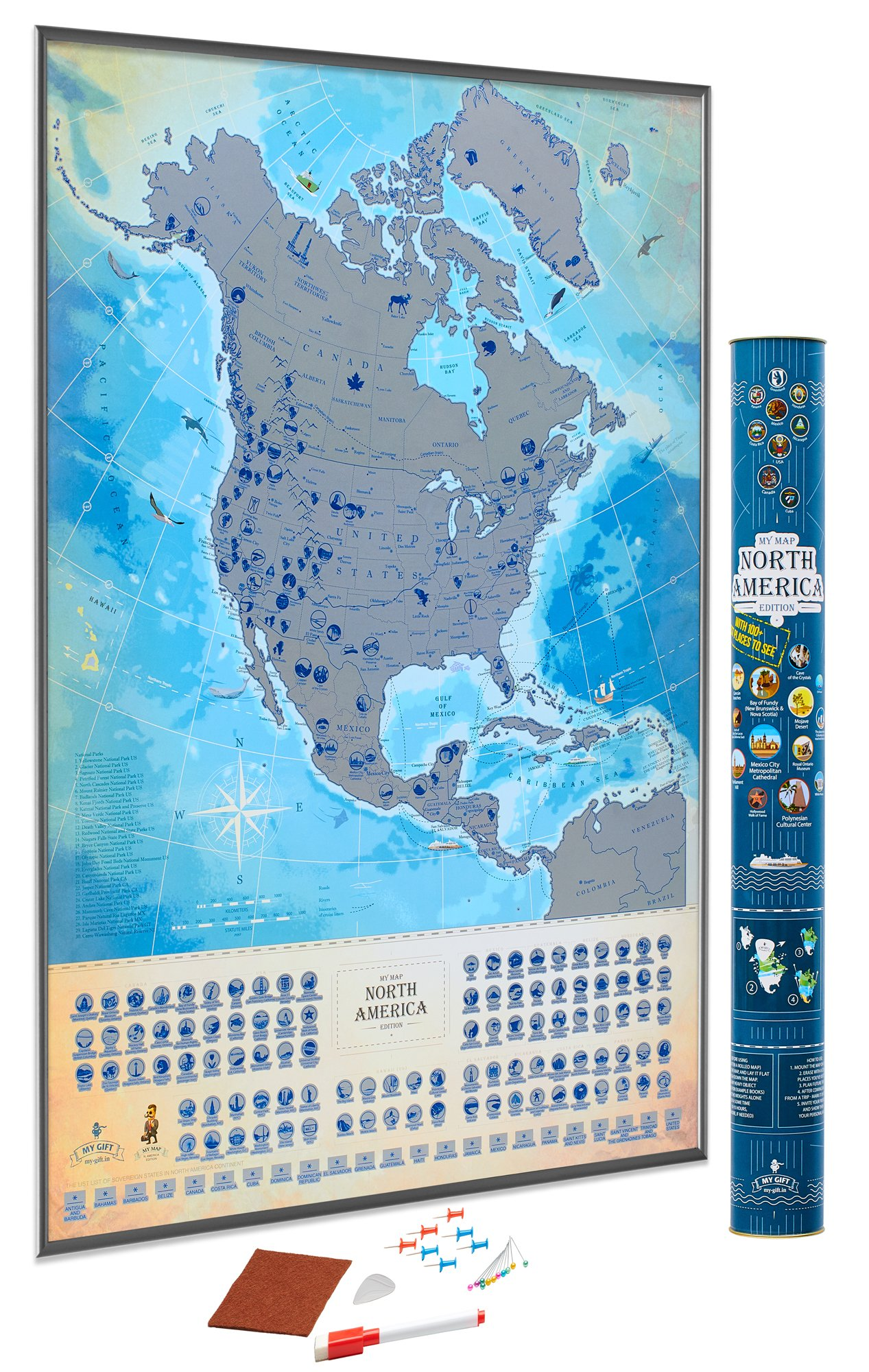 MyMap North America Scratch Off Map, USA Map Wall Poster, Extra-Size 18x27 Inches, Flags and National Parks, 100 Best Places to See, Includes Pins and Scratch Tool. Best for Travelers by