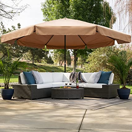 Delicieux Best Choice Products 16ft Outdoor Patio Drape Canopy Market Umbrella  W/Cross Base, Crank
