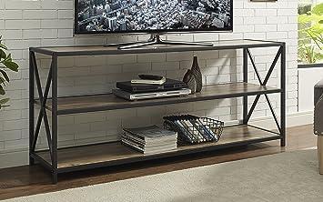 WE Furniture X Frame Metal U0026 Wood Console Table In Rustic Oak ...