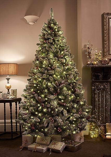best service aaad0 a6b33 7ft/210cm Premium Christmas Tree Snowy Flocked Windsor Pinecones & Berries  Multi-Function Pre lit 380 LEDs
