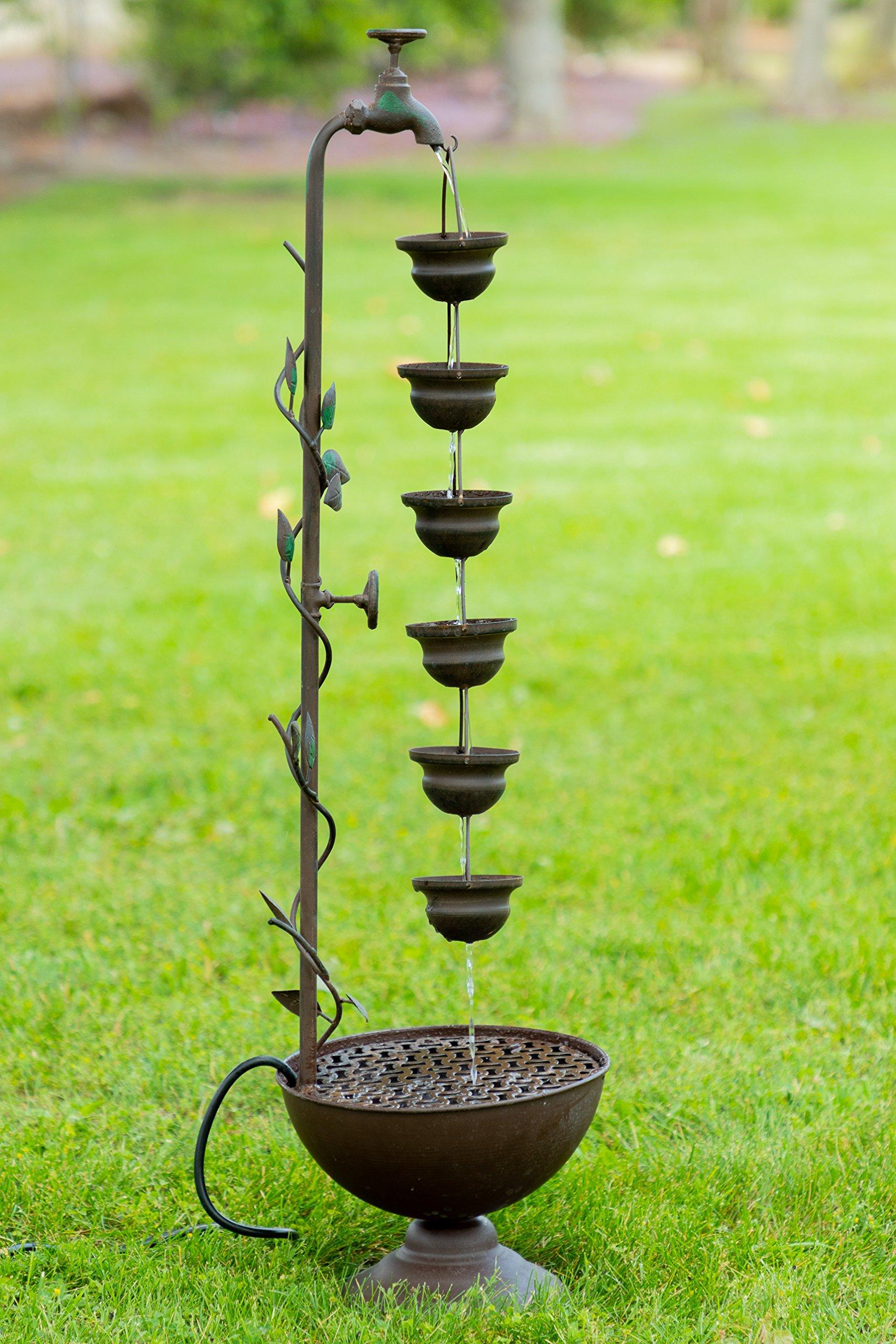 Alpine MAZ254 6 Hanging Cup Tier Layered Floor Fountain, 36''
