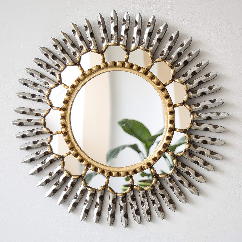 Amazon Com Peruvian Round Sunburst Mirror For Wall 17 7 Accent Silver Mirrors Wall Decor Sun Rays Decorative Mirror Distressed Gold Silver Leaf Finish Handmade