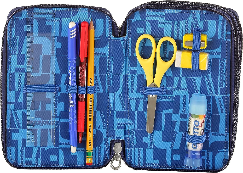 Estuche 3 Cremalleras Invicta , Benin , Azul , Pisos con Contenido: Lápices, Rotuladores, Boligrafos ...: Amazon.es: Equipaje
