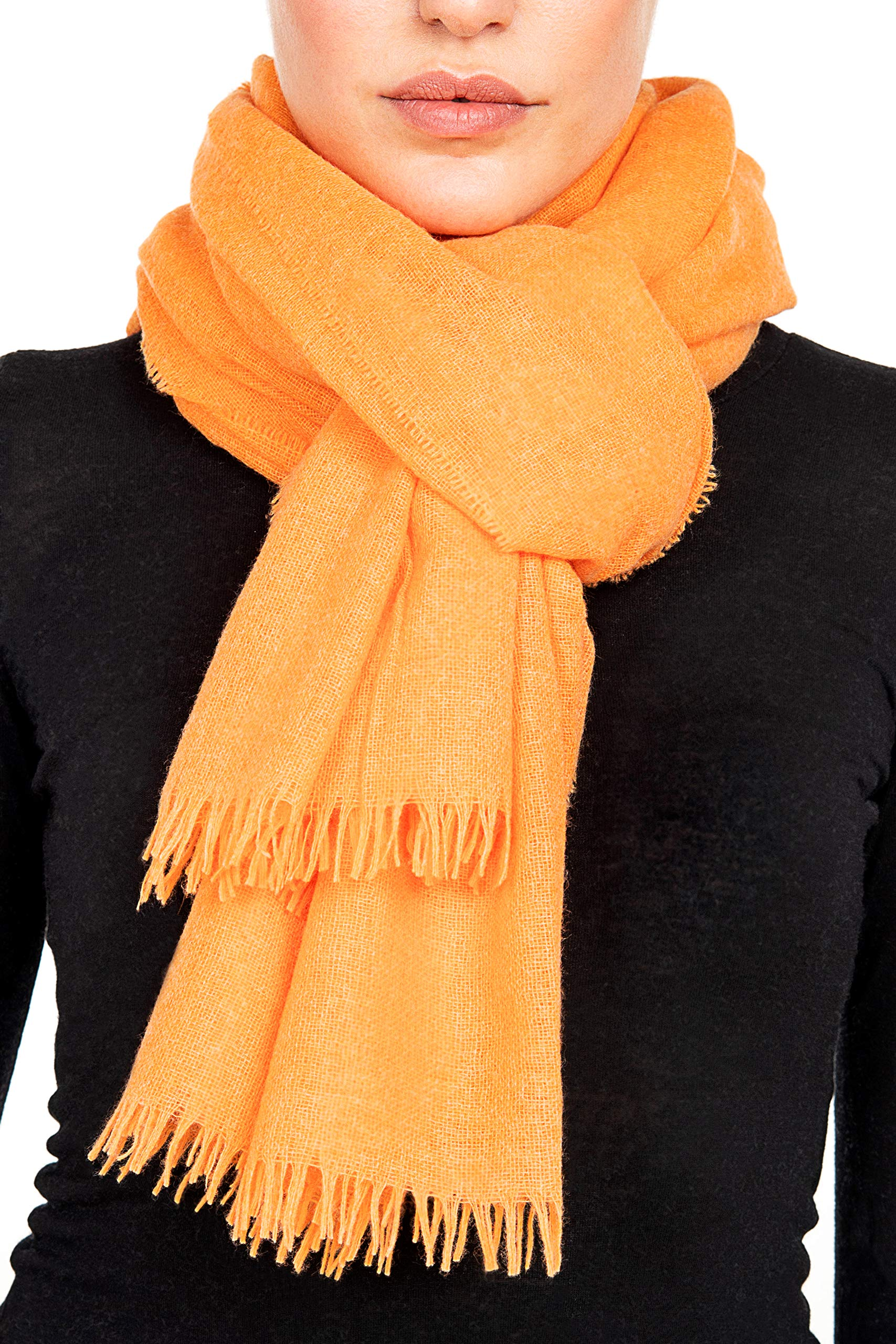 GIULIA BIONDI Cashmere Scarf Shawl Wrap Stole Soft Warm Large Women Men MADE IN ITALY (Orange)