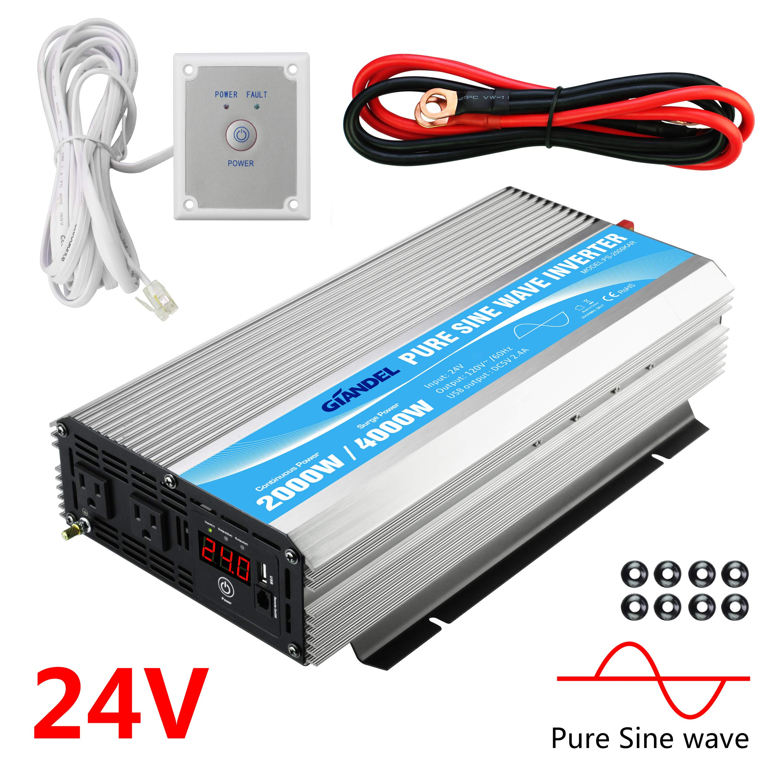 Giandel 2000W Pure Sine Wave Power Inverter DC 24V to AC120V with Dual AC Outlets with Remote Control 2.4A USB and LED Display by Giandel