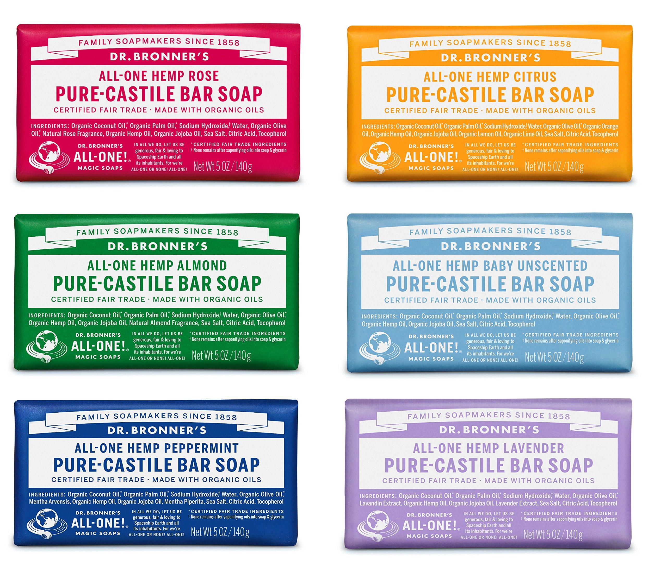 Dr. Bronner's Pure-Castile Bar Soap Variety Gift Pack– 5oz, 6 Pack