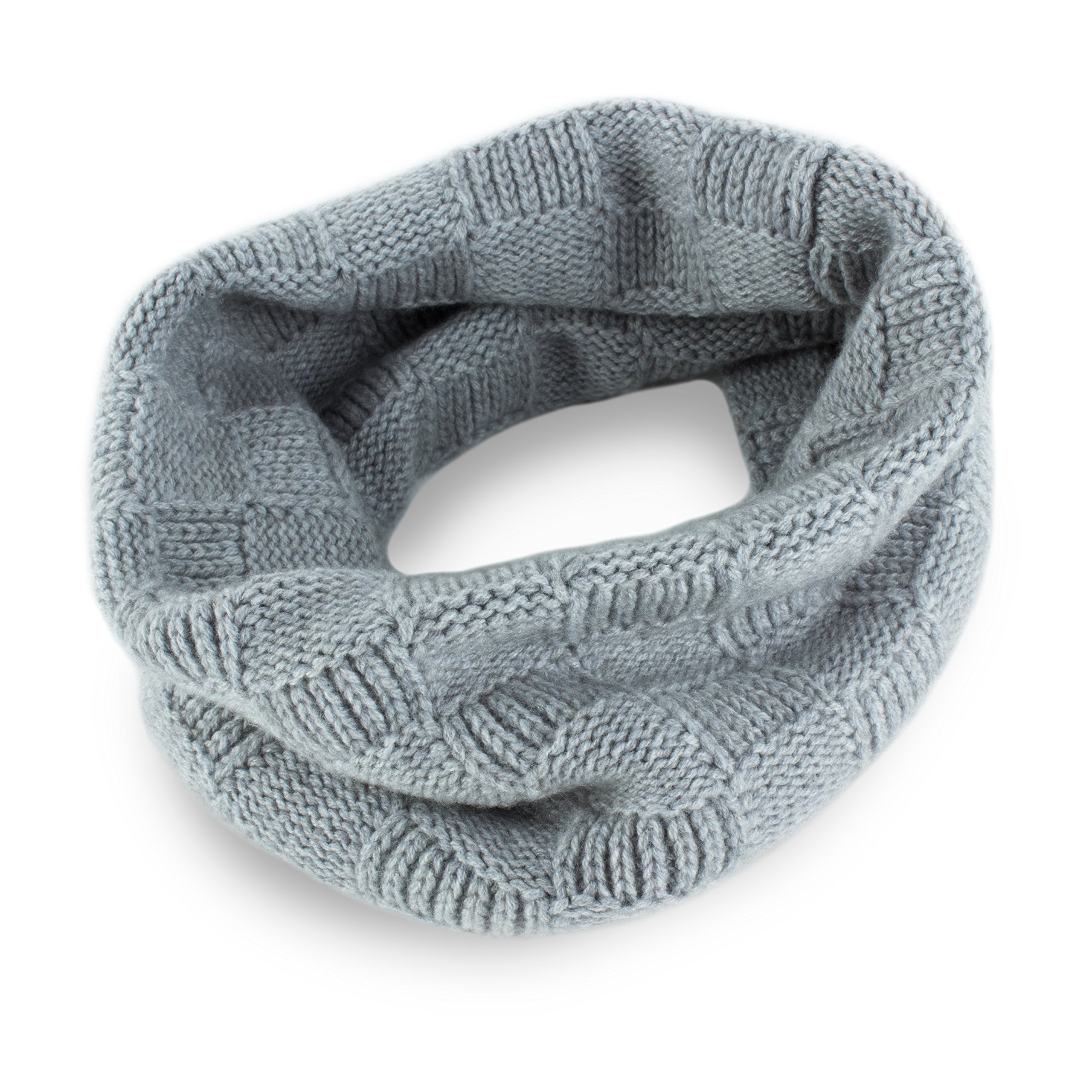 Love Cashmere Mens Checked 100% Cashmere Snood - Light Gray - made in Scotland - RRP $160