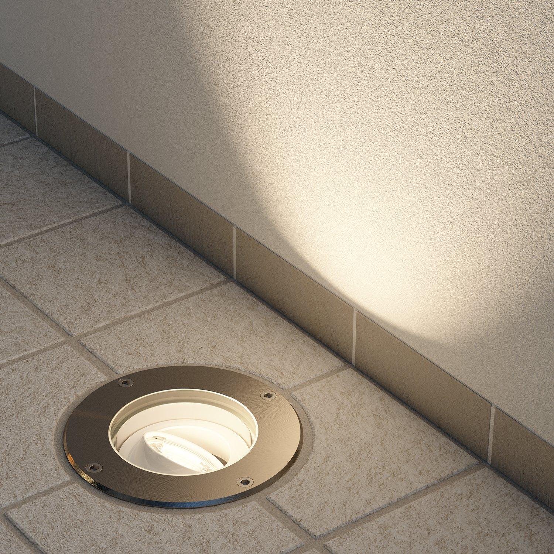 5W LED Lampadina 300lm Bianca Calda Kit di 3 lampade ledscom.de Faretto da Incasso a Suolo BOS da Esterno orientabile Acciaio Inox Tondo IP67 150mm /Ø incl