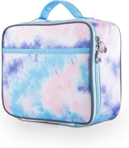 Tie Dye Lunch Box for Girls, Teens, Women by Fenrici, Insulated Lunch Bag, Soft Sided Compartments, Spacious, BPA Free, Food Safe, 10.8in x 9.2in x 3.8in (Pastel Pink Tie Dye)
