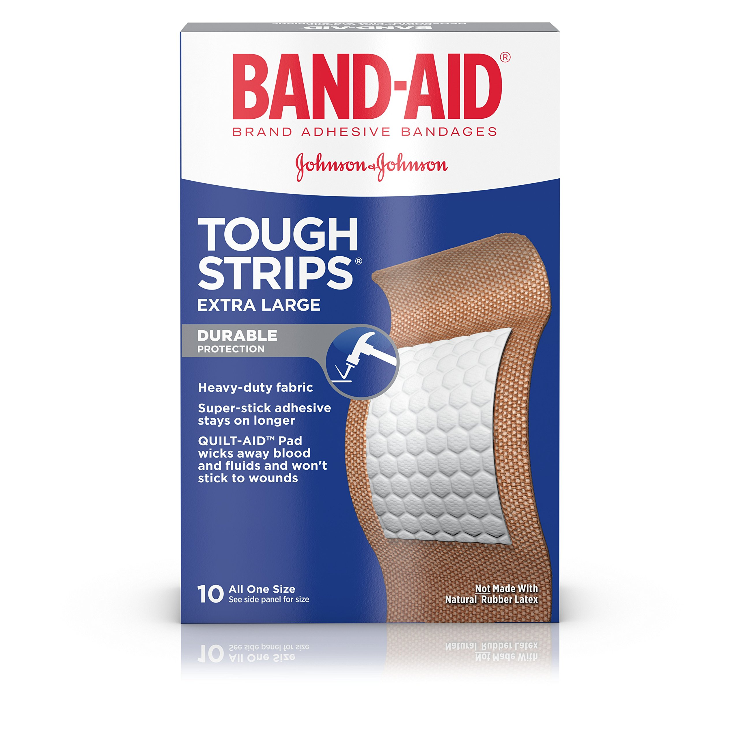 Band-Aid Brand Tough-Strips Adhesive Bandage for Minor Cuts & Scrapes, Extra Large Size, 10 ct