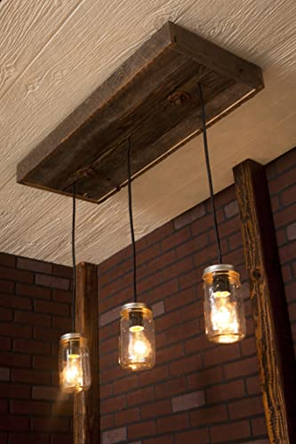 Pendant Light/ Rustic Wood Chandelier, Mason Jar Chandelier With Reclaimed  Wood And 3 Pendants