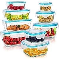 KICHLY - Glazen voedselopslagcontainer - 18 Stuks (9 Containers en 9 Transparante Deksels) - Vaatwasmachinebestendig…