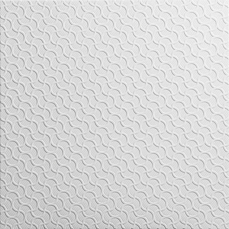 Decorative Laminated Polystyrene Ceiling Tiles Panels Rumba White (40 pcs / 10 sqm) Kaseton