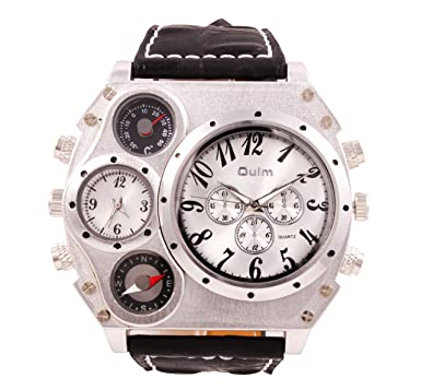 ShoppeWatch Mens Oversized Watch Dual Time Display Quartz Black Leather Band White Dial OM-170