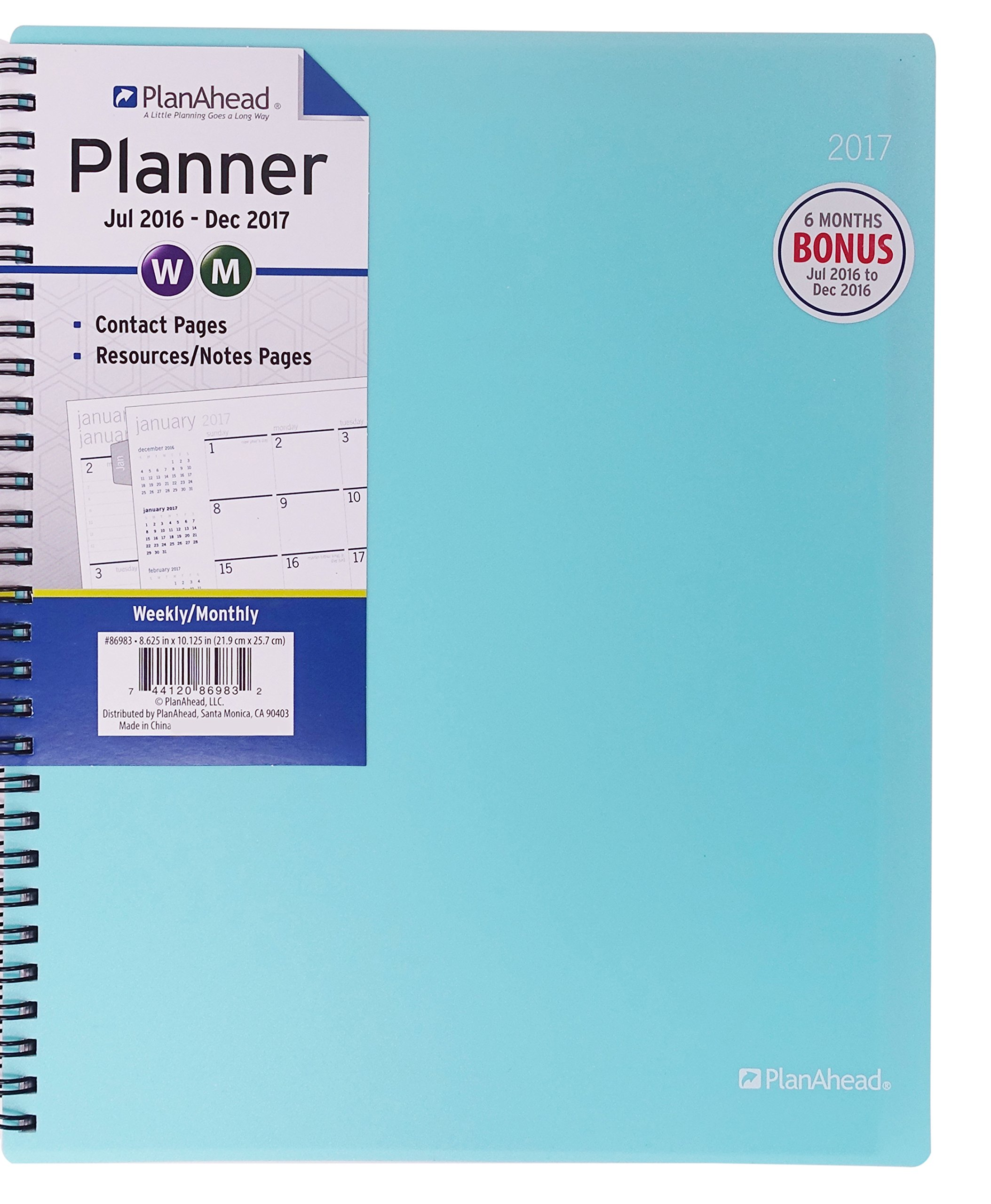 PlanAhead Home/Office 18 Month Planner, July 2016 - December 2017, 8.6 x 10.125 inches, Assorted Colors, Color May Vary (86983)