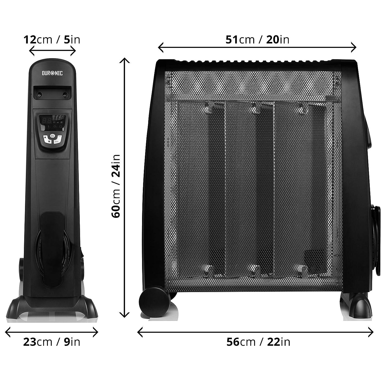 Duronic HV052 Calefactor Radiador Eléctrico Bajo Consumo con Panel de Mica de 1500 W, Termostato Digital y Mando a Distancia, Paneles Calefactores Libre De ...