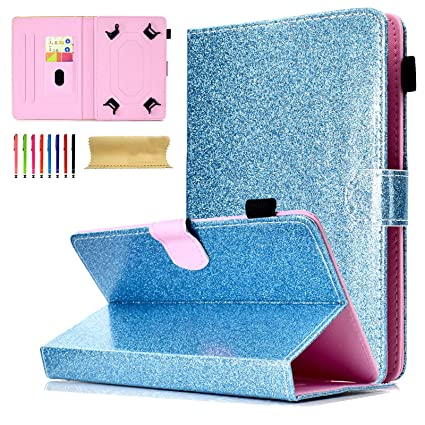 7 Inch Universal Tablet Glitter Case, Coopts Stand Wallet Cover for  Samsung/Amazon Kindle fire 7 0 2015 2017/ Fire HDX  7/Google/KOBO/RCA/Acer/ASUS and