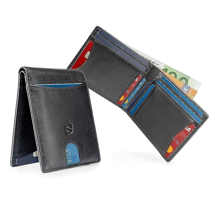 Schwarz Karten Portemonnaie ohne Münzfach mit RFID-Schutz Geschenk-Box Herren-Lederbörse Leder-Geldtasche Leder-Brieftasche M