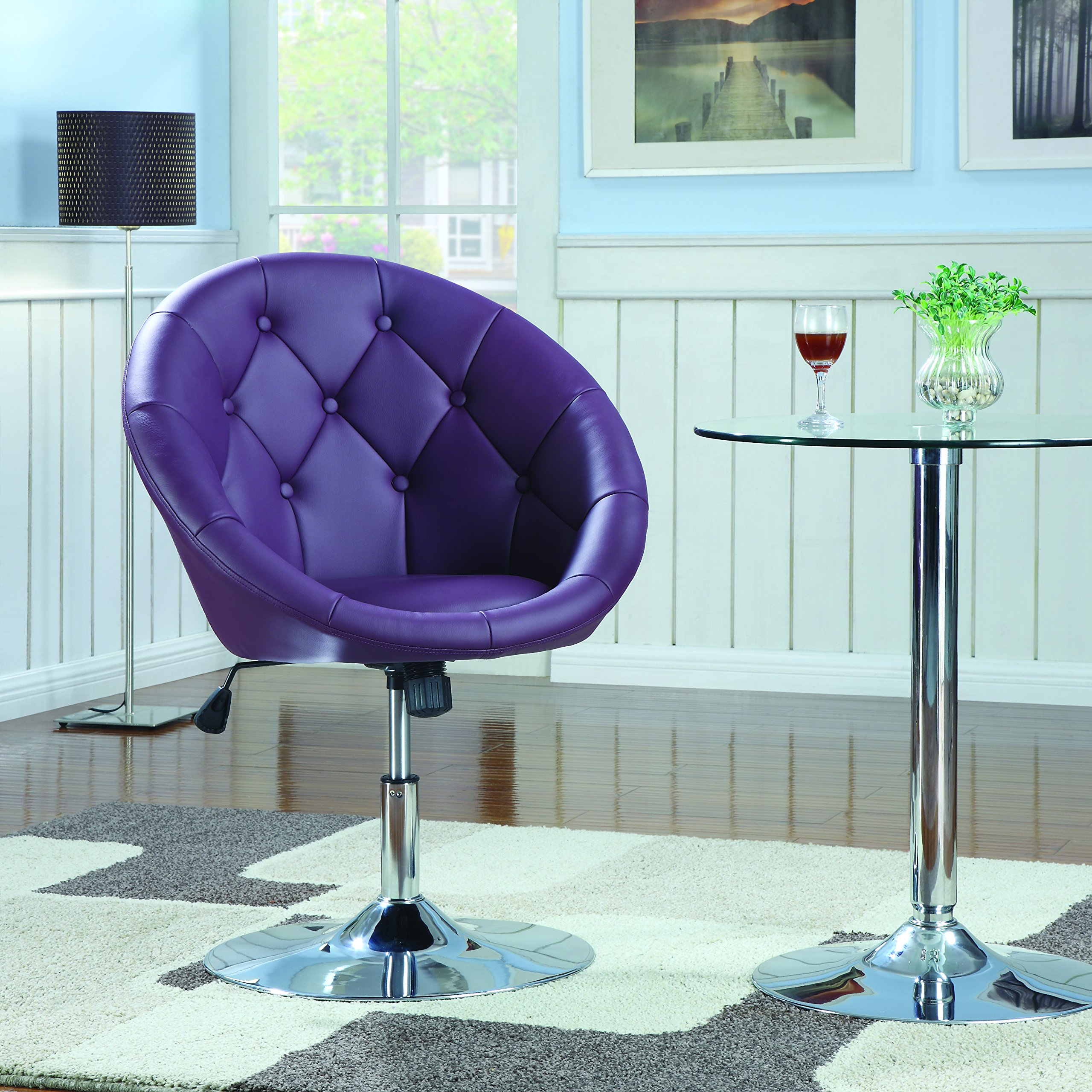 Coaster Contemporary Swivel Accent Chair with Faux Leather Upholstered Seat and Button Tufting Back, Purple