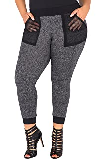 56efba660de Poetic Justice Plus Size Curvy Women s Black French Terry Relaxed Jogger  Pants