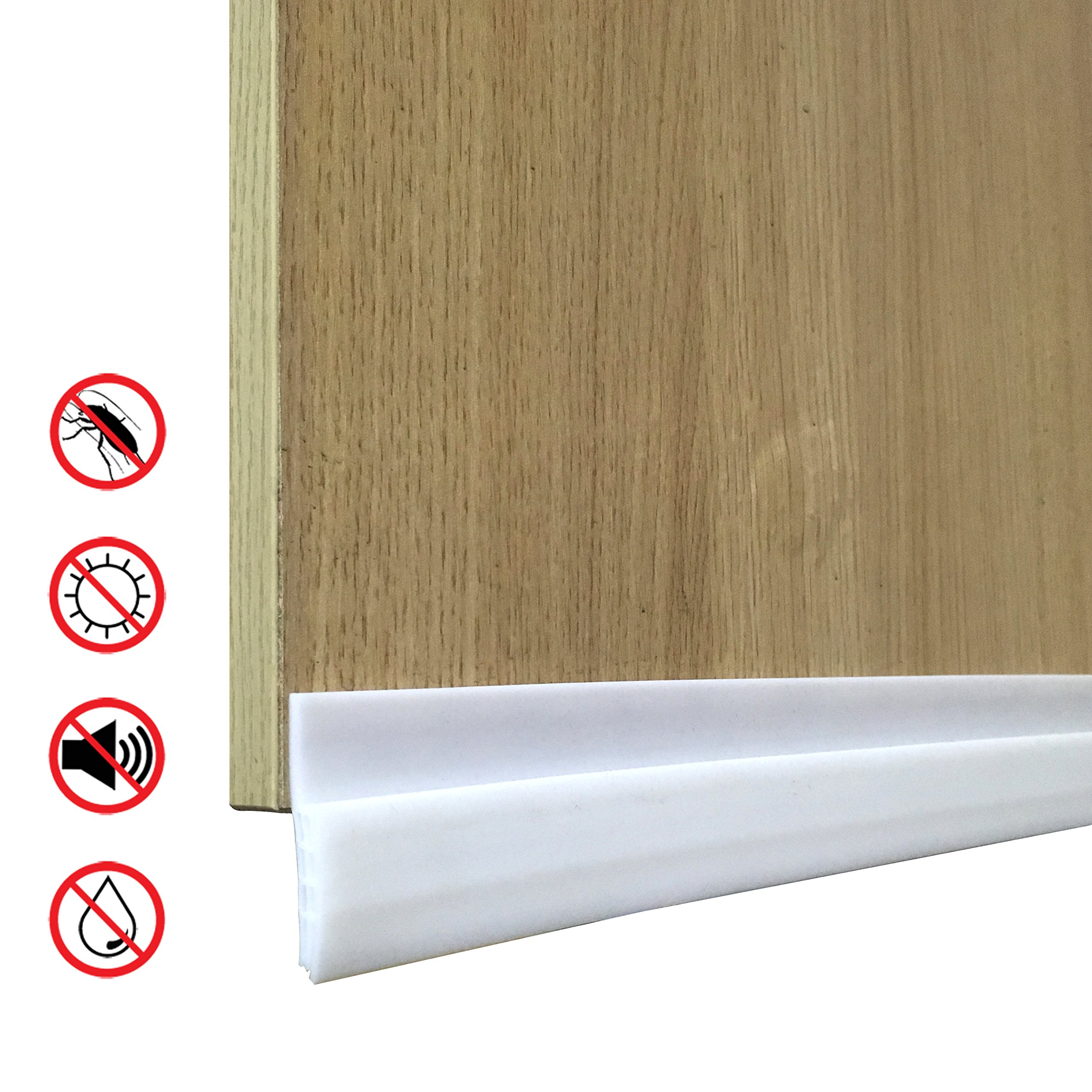 Door Under Seal, 2 X 39.5 inch Door Sweep Door, Anti-Noise, Pest, Warm, Door Draft Stopper, Door Under Blocker with Acrylic Adhesive (White)