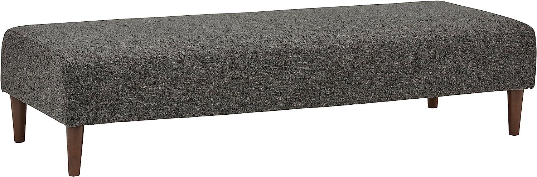 "Rivet Ava Mid-Century Modern Upholstered Long Ottoman Bench, 63.4""W, Dark Grey"