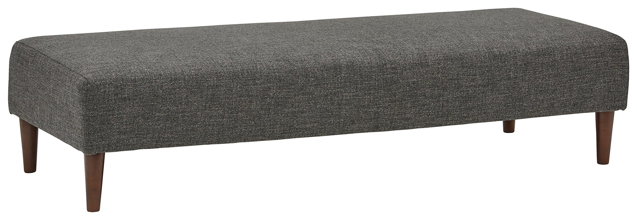 Rivet Ava Mid-Century Ottoman Bench, 63''W, Dark Grey
