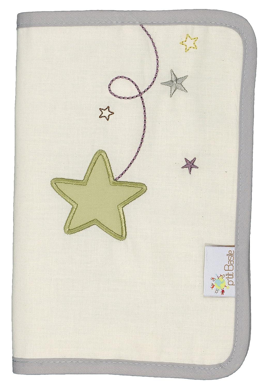 P 'tit Basile–para cartilla sanitaria de bebé de algodón orgánico de lluvia de estrellas 24x 17cm P' tit Basile Pluie d' étoiles