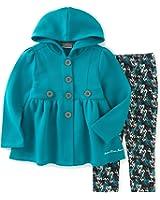 Calvin Klein Girls' Hooded Fleece Jacket with Leggingg Set