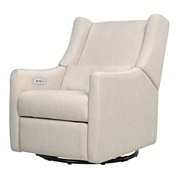 Surprising Babyletto Kiwi Electronic Power Recliner And Swivel Glider With Usb Port White Linen Cjindustries Chair Design For Home Cjindustriesco