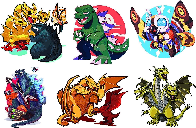 H2 Studio Godzilla Stickers, Super Cute Stickers with Vibrant Color for Phone Case, Laptop Stickers, Water Bottle Stickers, Godzilla Party Supplies, Godzilla Cake Topper, Monster Stickers For Kids Toy
