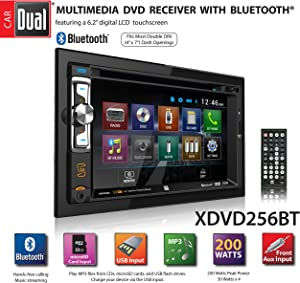 "Dual XDVD256BT Digital Multimedia 6.2"" LED Backlit LCD Touchscreen Double DIN Car Stereo with Built-in Bluetooth, CD/DVD, USB, microSD & MP3 Player"