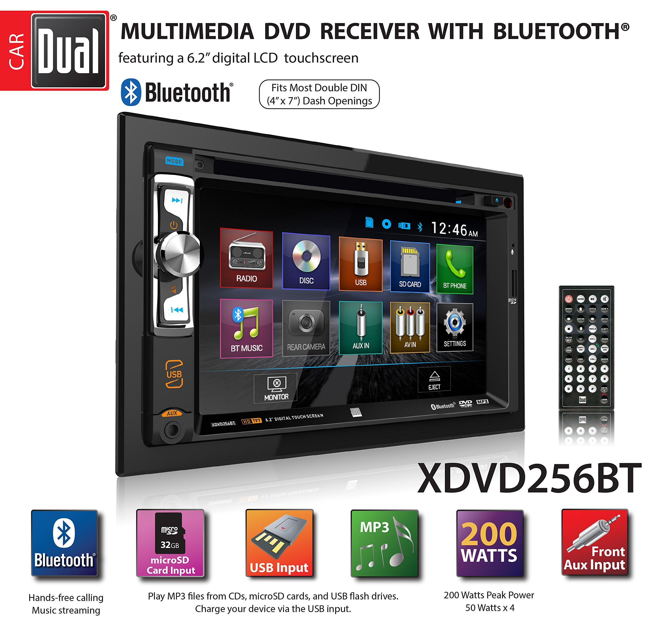 Dual XDVD256BT Digital Multimedia 6.2'' LED Backlit LCD Touchscreen Double DIN Car Stereo with Built-in Bluetooth, CD/DVD, USB, microSD & MP3 Player