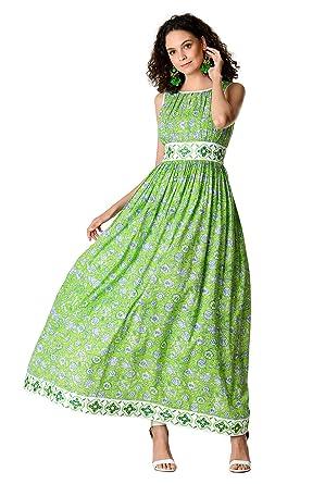 a4d8540b59c43 eShakti FX Floral Print Cotton Embellished Trim Ruched Maxi Dress -  Customizable Neckline at Amazon Women's Clothing store: