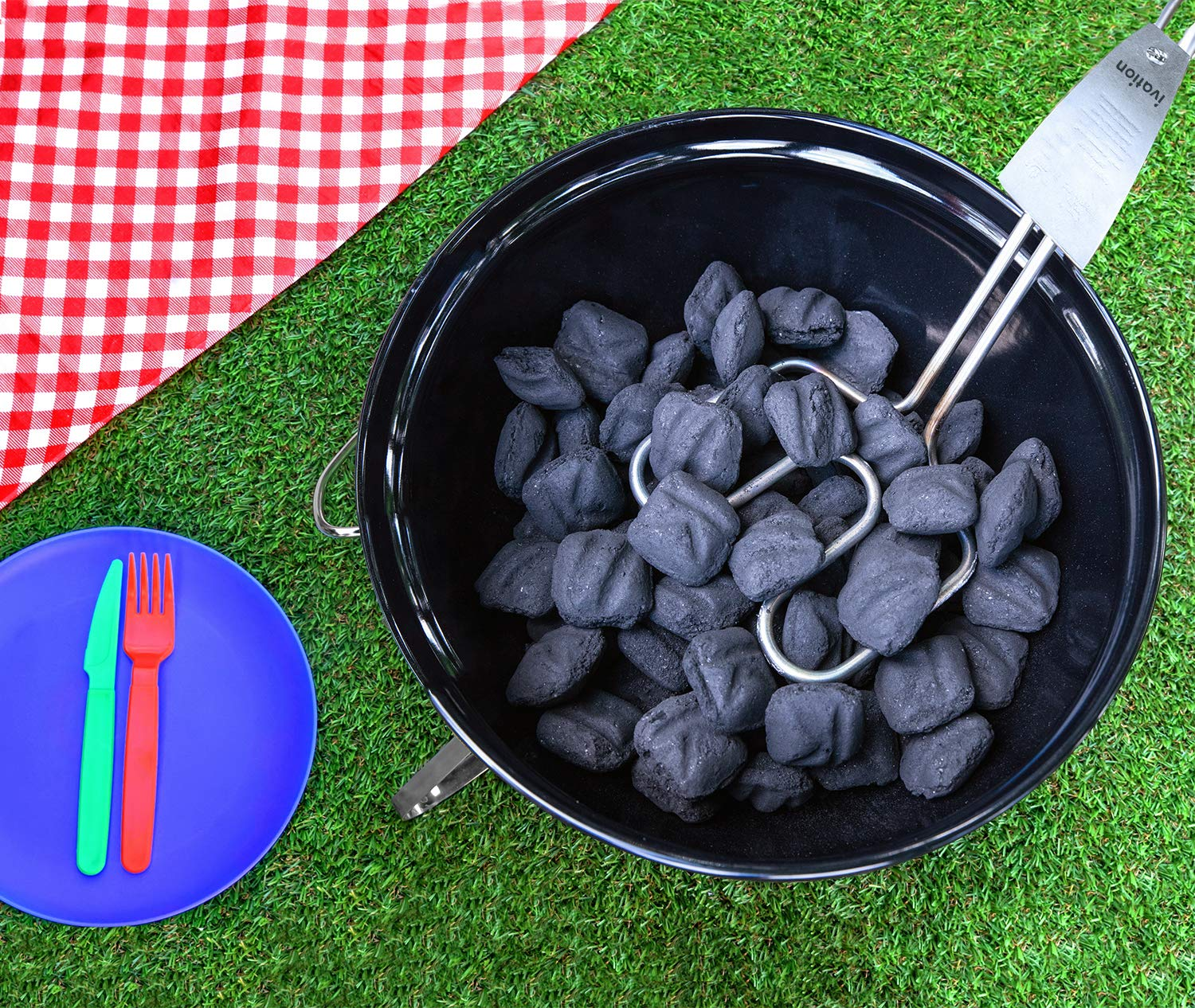 Ivation Premium 500W Electric Charcoal Starter – Quickly & Easily Ignite BBQ Grills Without Lighter Fluid or Matches – Double-Ring Design with Longer, Angled Handle Safely Heats in Just 6 Minutes by Ivation (Image #3)