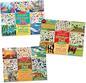Melissa & Doug Reusable Sticker Pads Set: Jungle, Farm & Under The Sea, Great Gift for Girls and Boys - Best for 3, 4, 5 Year Olds and Up