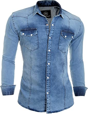 D&R Fashion Camisa Gruesos Denim Jeans Hombres con Collar Normal y Bolsillos Elegantes: Amazon.es: Ropa y accesorios