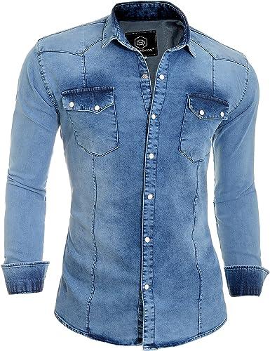 D&R Fashion Camisa Gruesos Denim Jeans Hombres con Collar Normal y Bolsillos Elegantes: Amazon.es: Ropa y accesorios