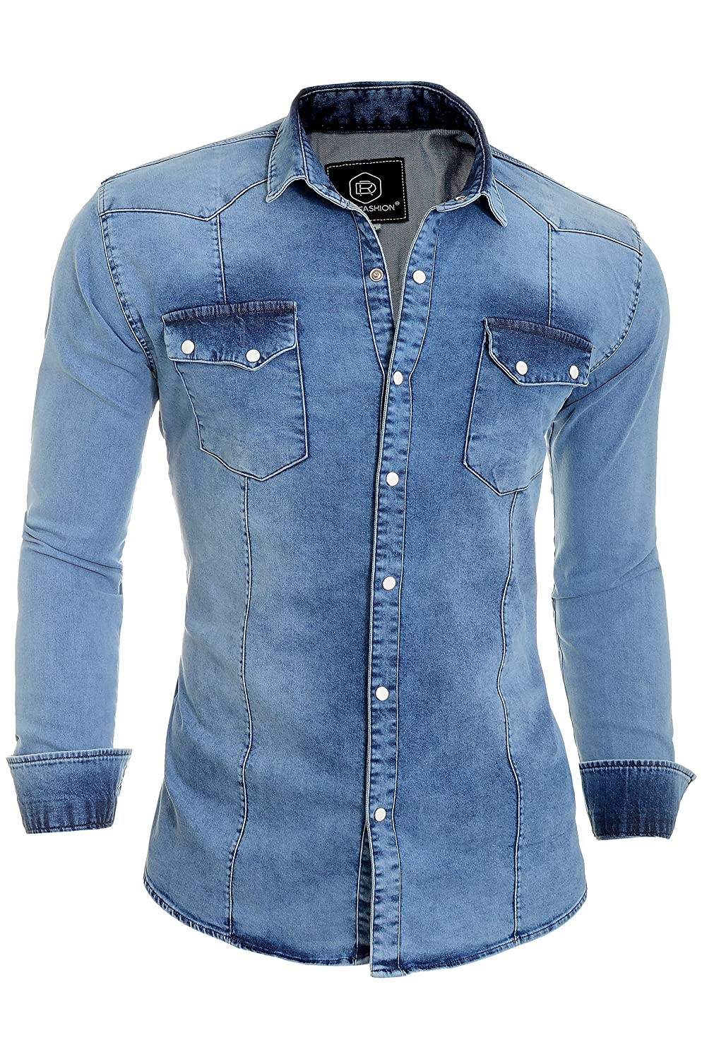 D&R Fashion Camisa Gruesos Denim Jeans Hombres con Collar Normal y Bolsillos Elegantes